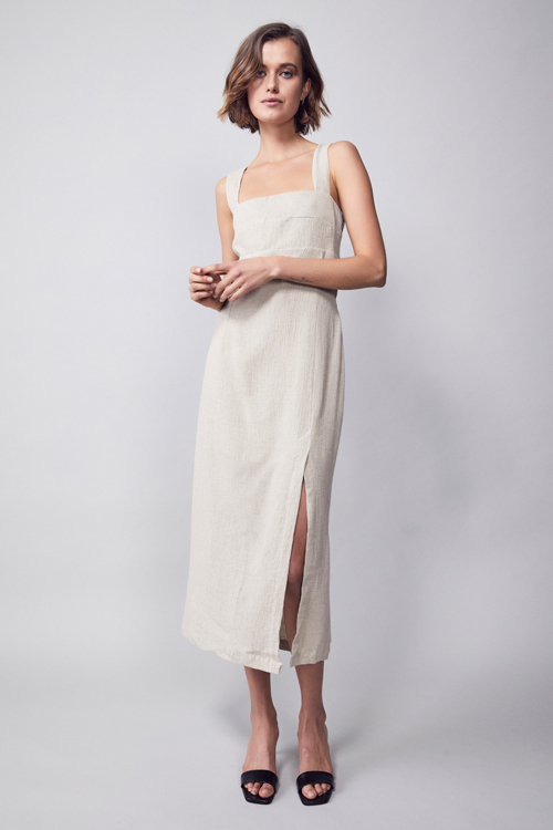 MLM LABEL BAE MIDI DRESS SAND TEXTURES BEIGE TREND