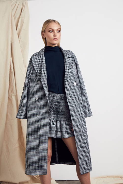 MLM LABEL ANDRIANA CHIDIAC COAT BUCKINGHAM CHECK cava skirt