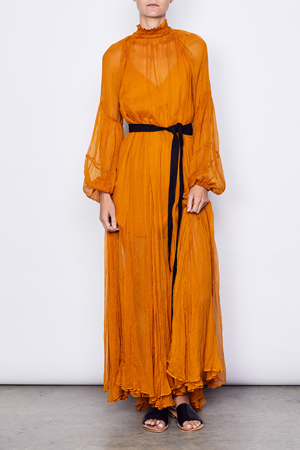 MLM LABEL AARONS GOWN EMPIRE YELLOW SILK CHIFFON