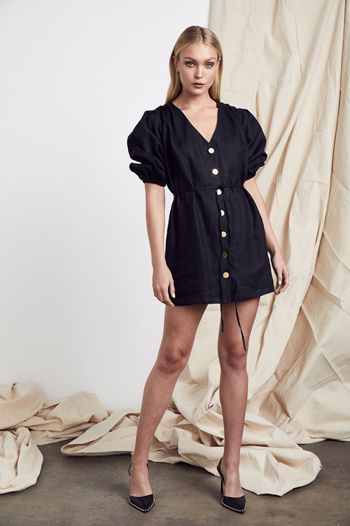 MLM LABEL TUSCAN LINEN DRESS BLACK PUFFED SLEEVES
