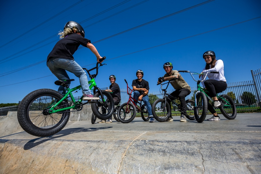 Reid Casey on his Legion L16 freestyle BMX bike with Pat Casey, Kevin Peraza, Ben Wallace and Nikita Ducarroz