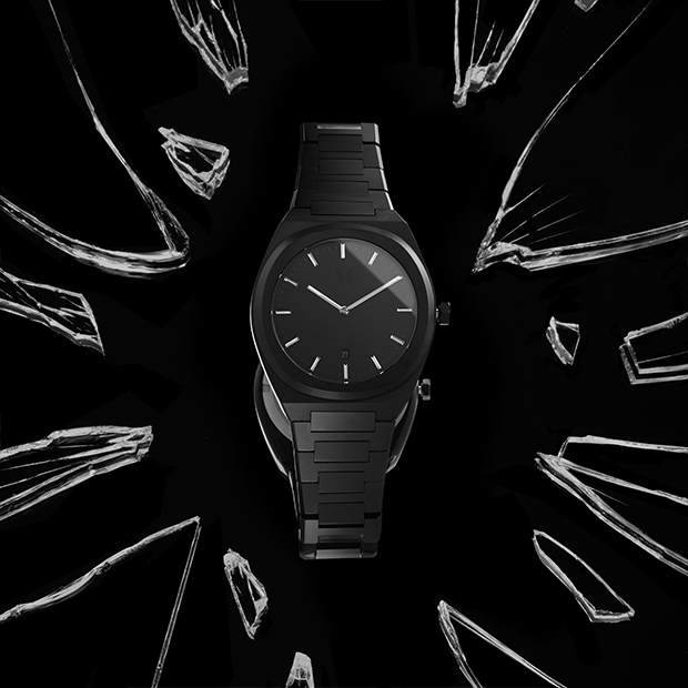 all black link watch on a black background