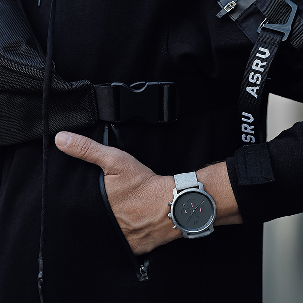 silver and grey leather watch on a man's wrist