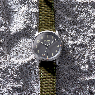 Olive green nato watch on sand