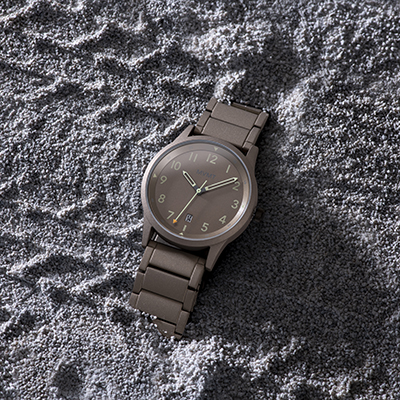 Taupe stainless steel watch in the sand