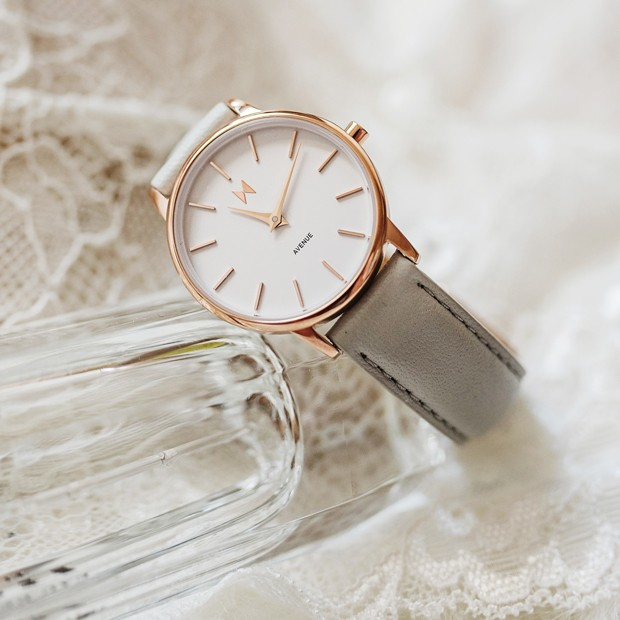 white, rose gold and light grey leather watch