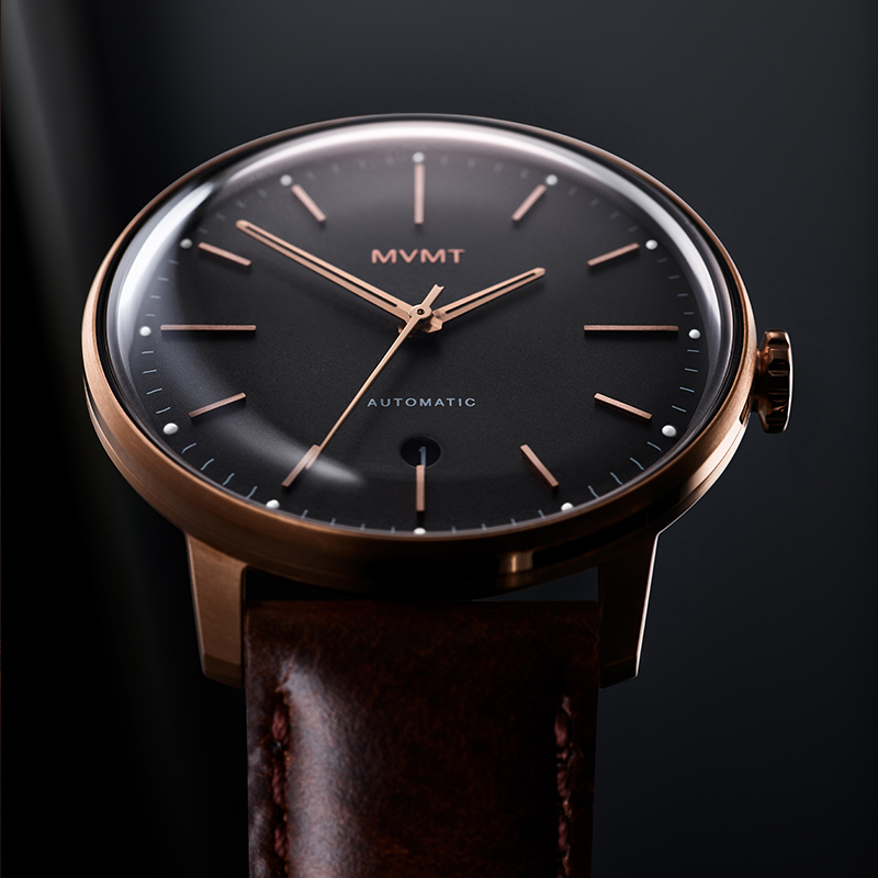Front facing image Bourbon Rose automatic watch in dramatic light