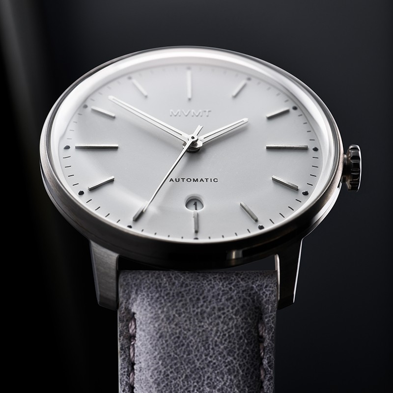 Front facing image of Iron Elm automatic watch in dramatic light