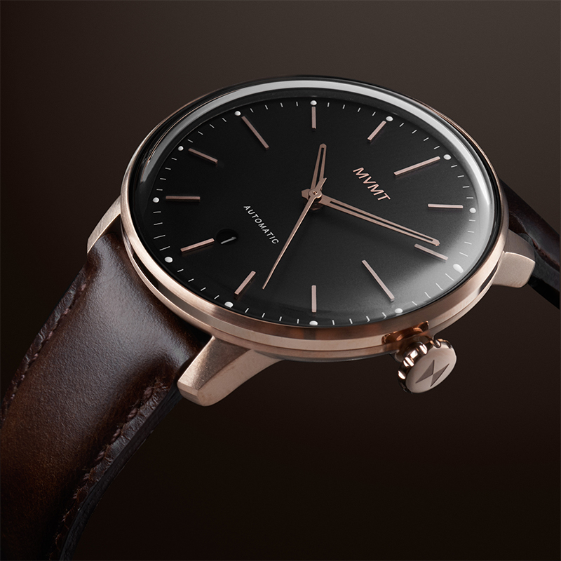 Angled view of Bourbon Rose automatic watch on a black background