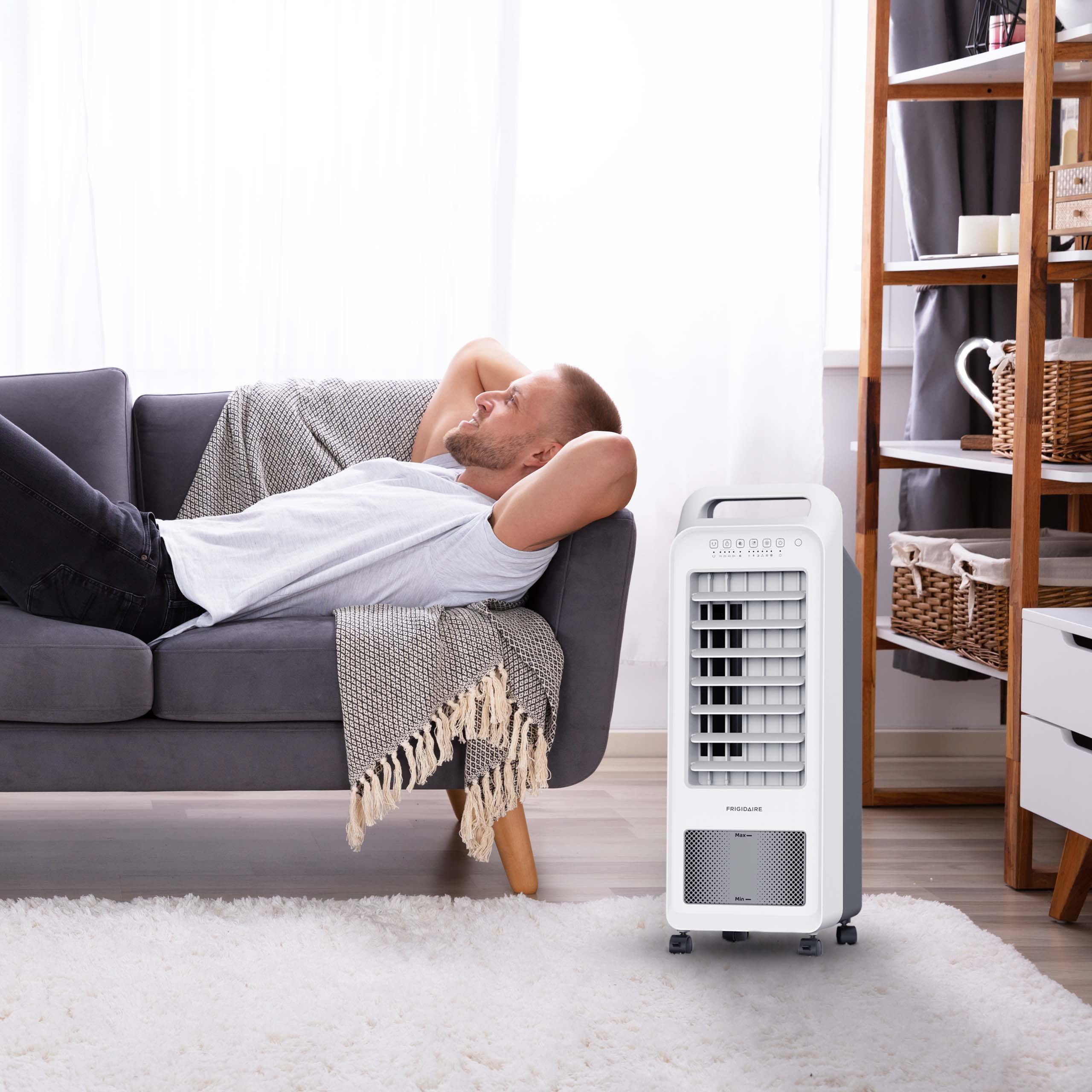 Frigidaire 2-in-1 Personal Evaporative Air Cooler and Fan, 100 sq  ft  with  Compact Design & Removable Water Tank