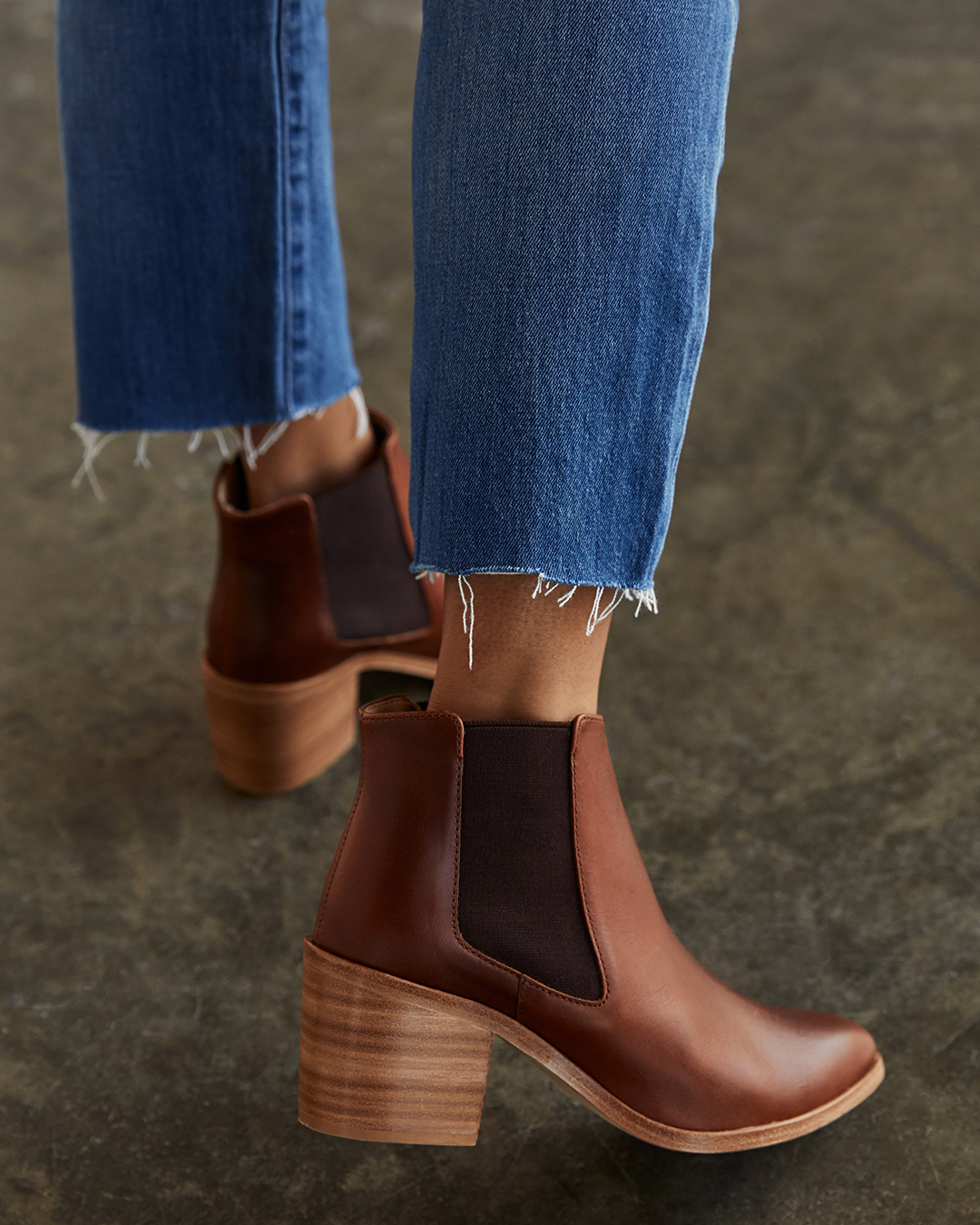 Nisolo Women's Heeled Chelsea Boot in brandy | Ethically Made