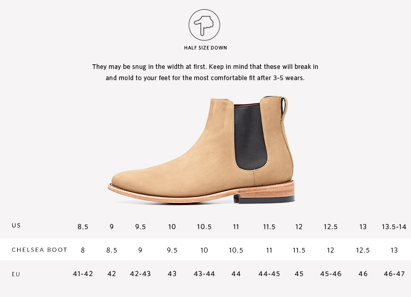 Nisolo Men's Chelsea Boot Stone | Sizing Guide