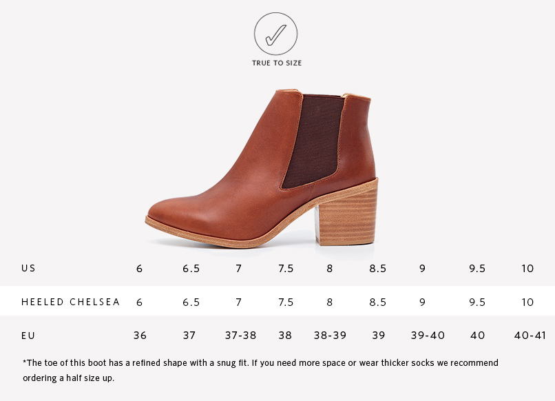 Nisolo Women's Heeled Chelsea Boot Brandy | Sizing Guide