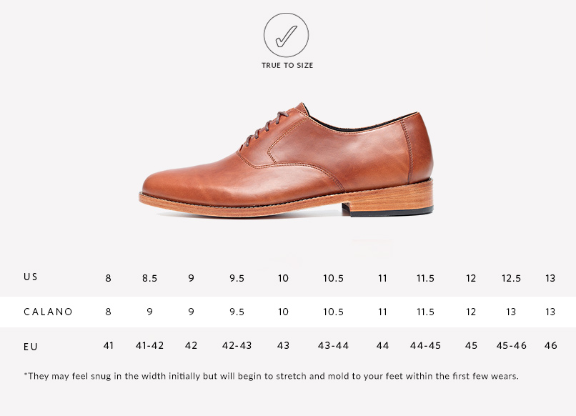 Nisolo Men's Calano Oxford in Brandy Sizing Guide | Handcrafted & Ethically Made