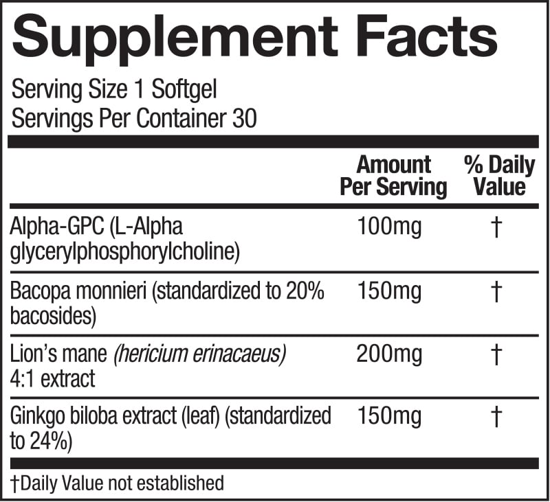 Supplement Nutrition Label