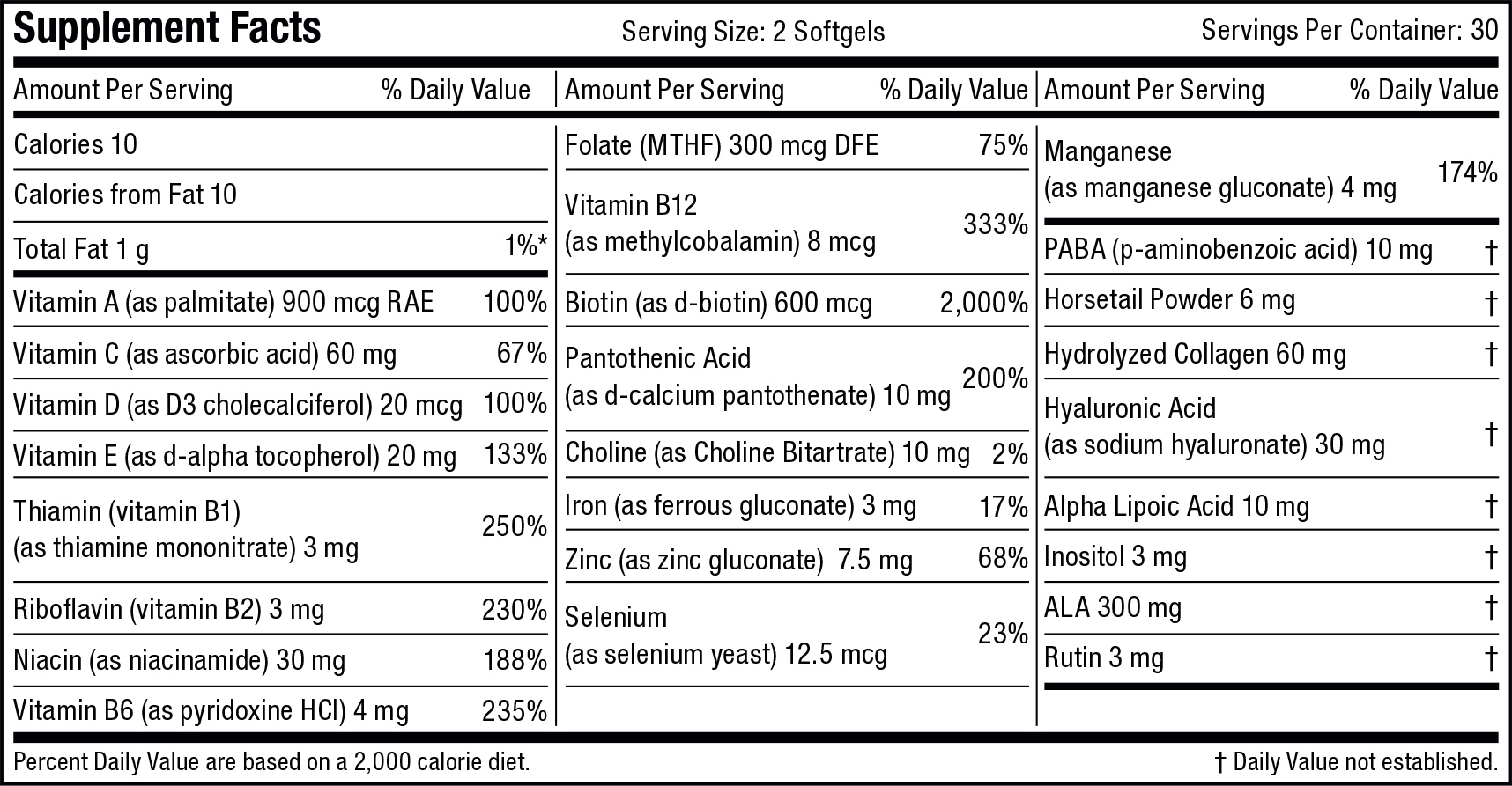 Supplement Nutrition Label