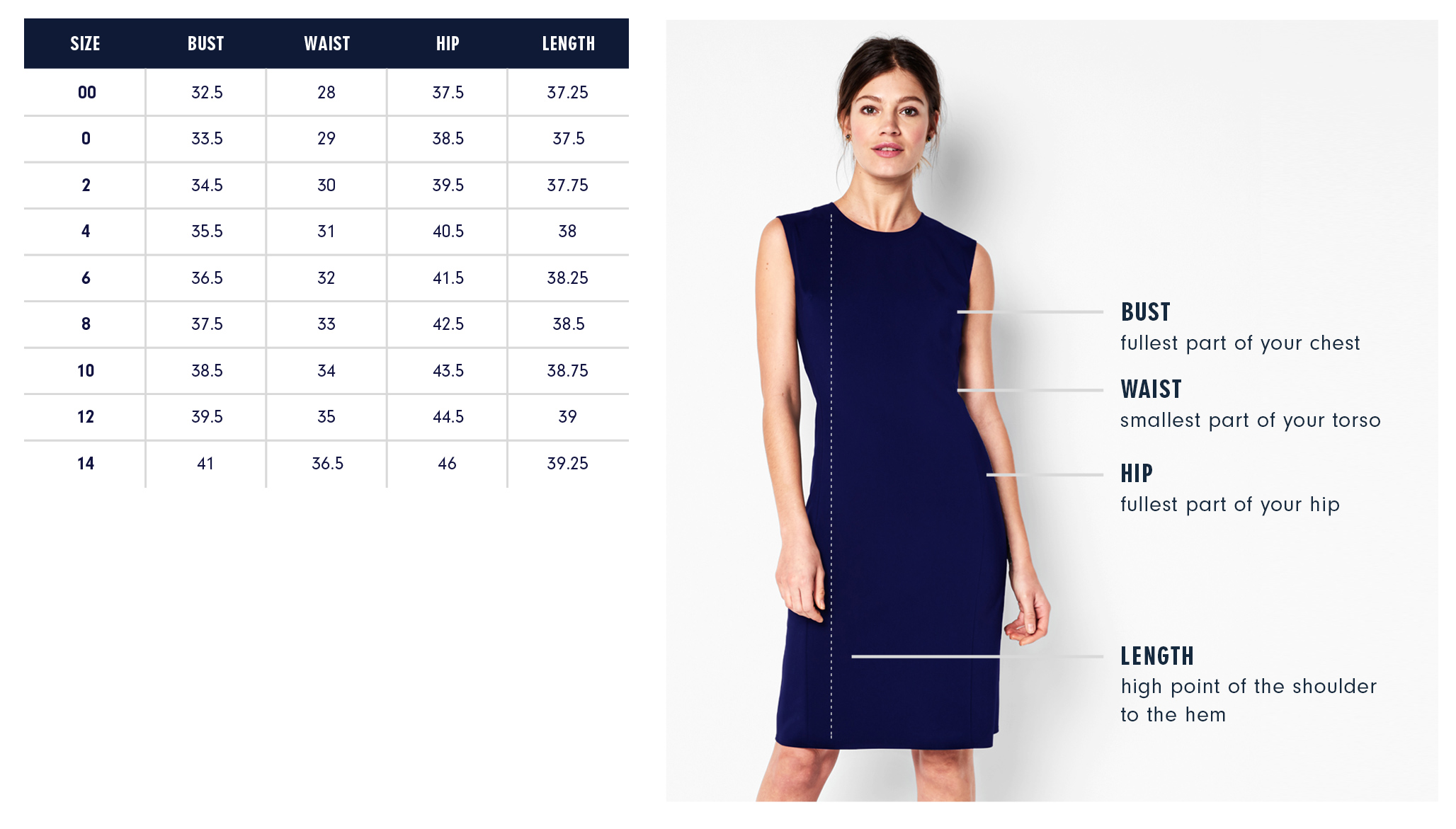 Of Mercer James Dress Size Chart