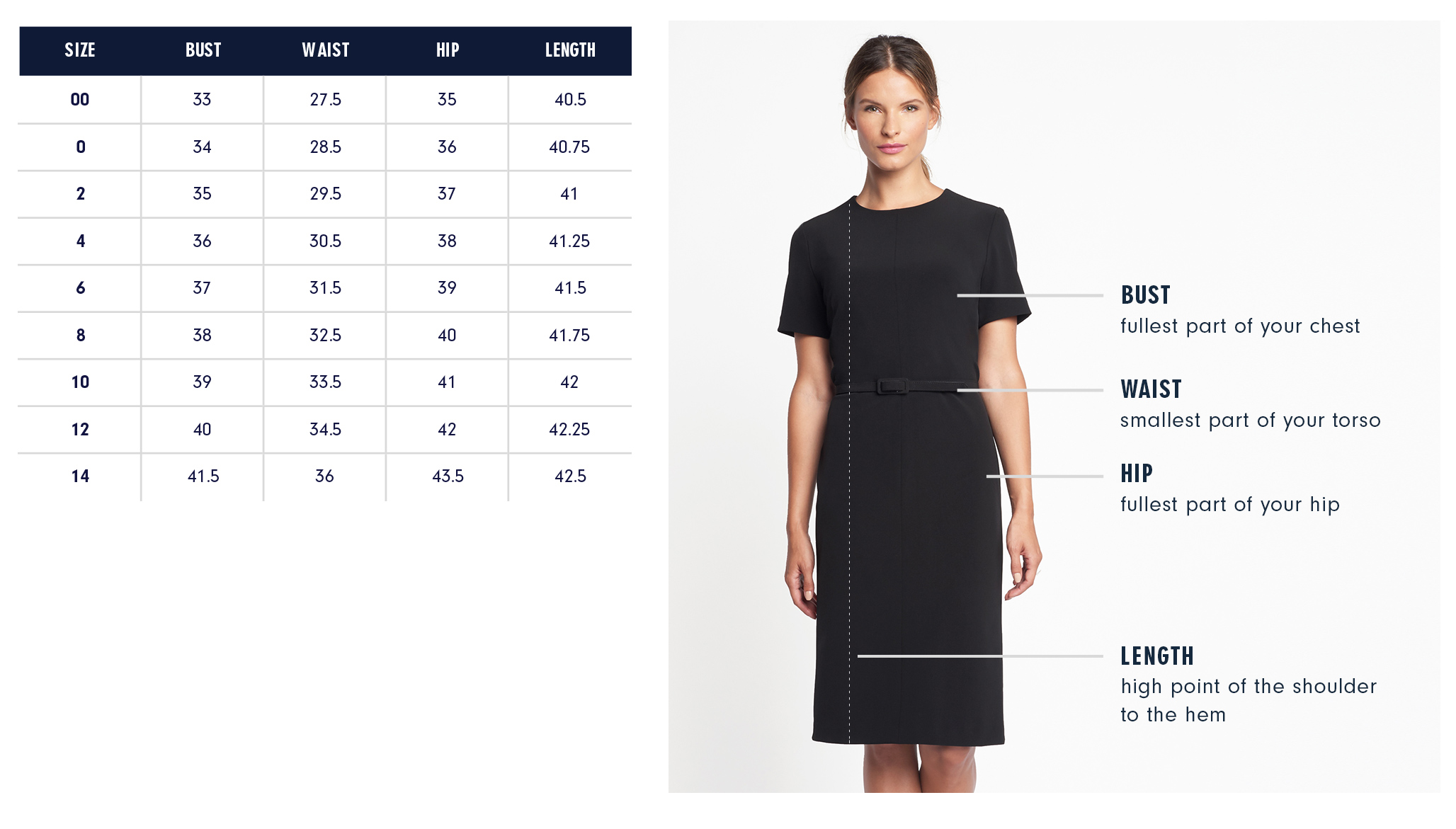 Of Mercer Dupont Dress Size Chart