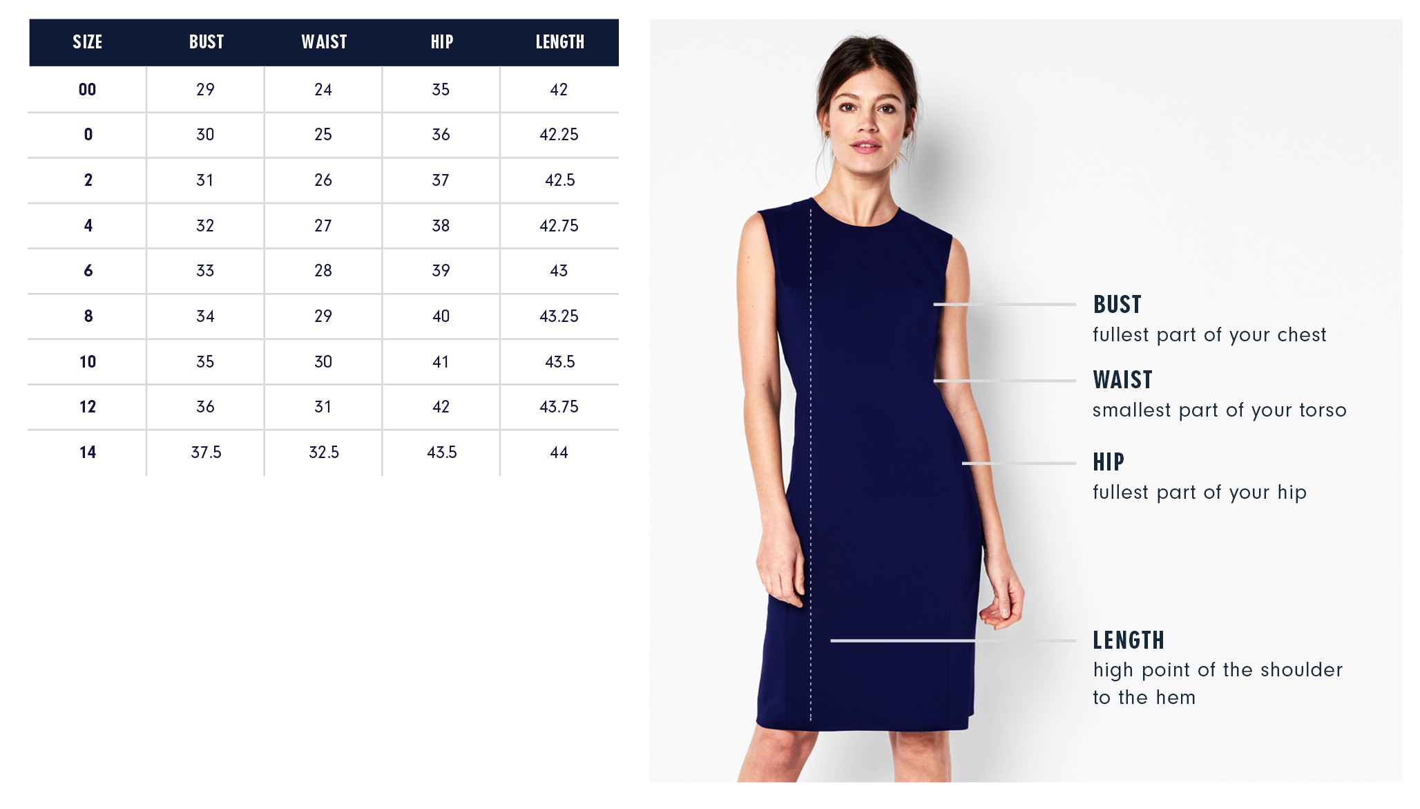 Of Mercer Allen Dress Size Chart | Olive