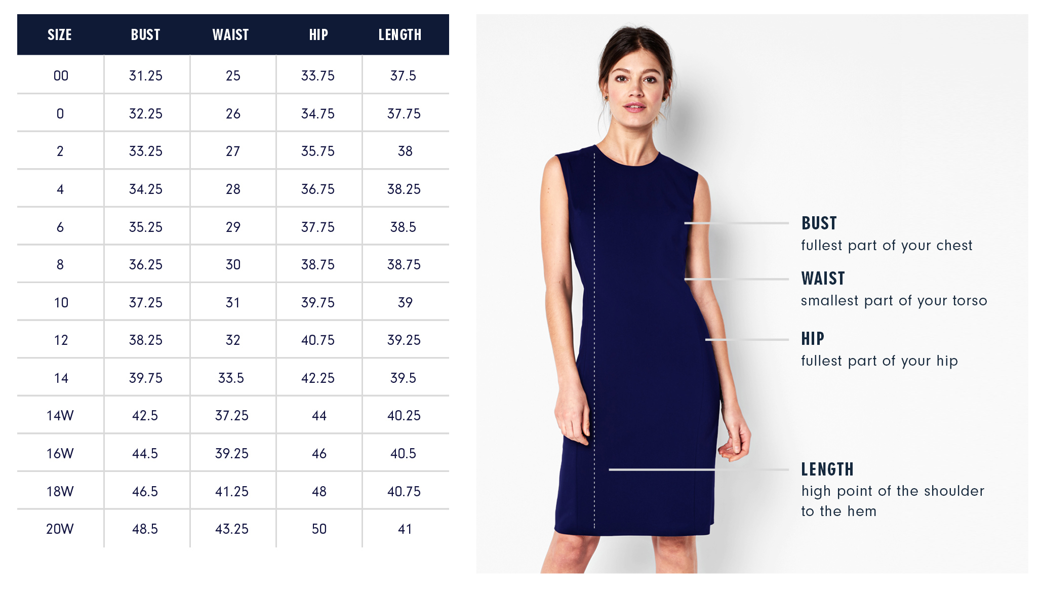 Bowery Dress Size Guide