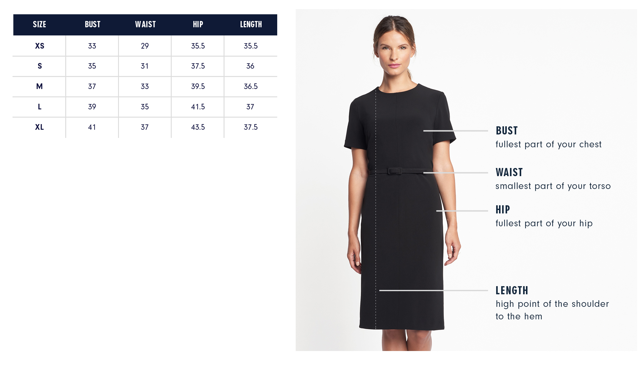 Leroy Dress Size Chart