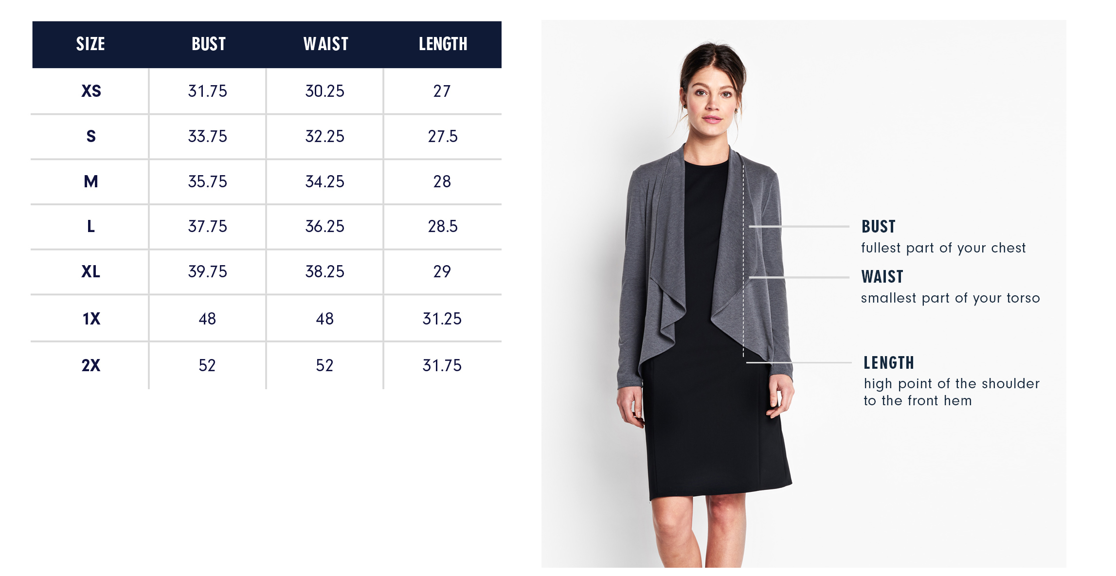 Of Mercer | Grey Amsterdam Cardigan | Size Chart