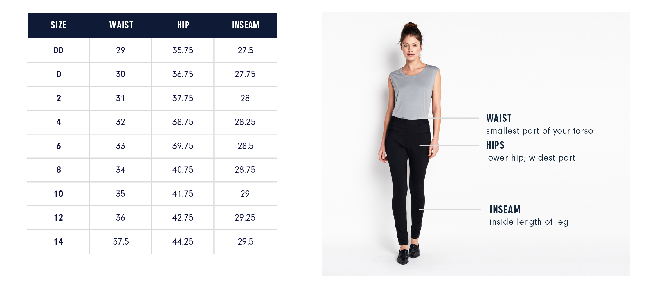 Hanover Pants Size Guide