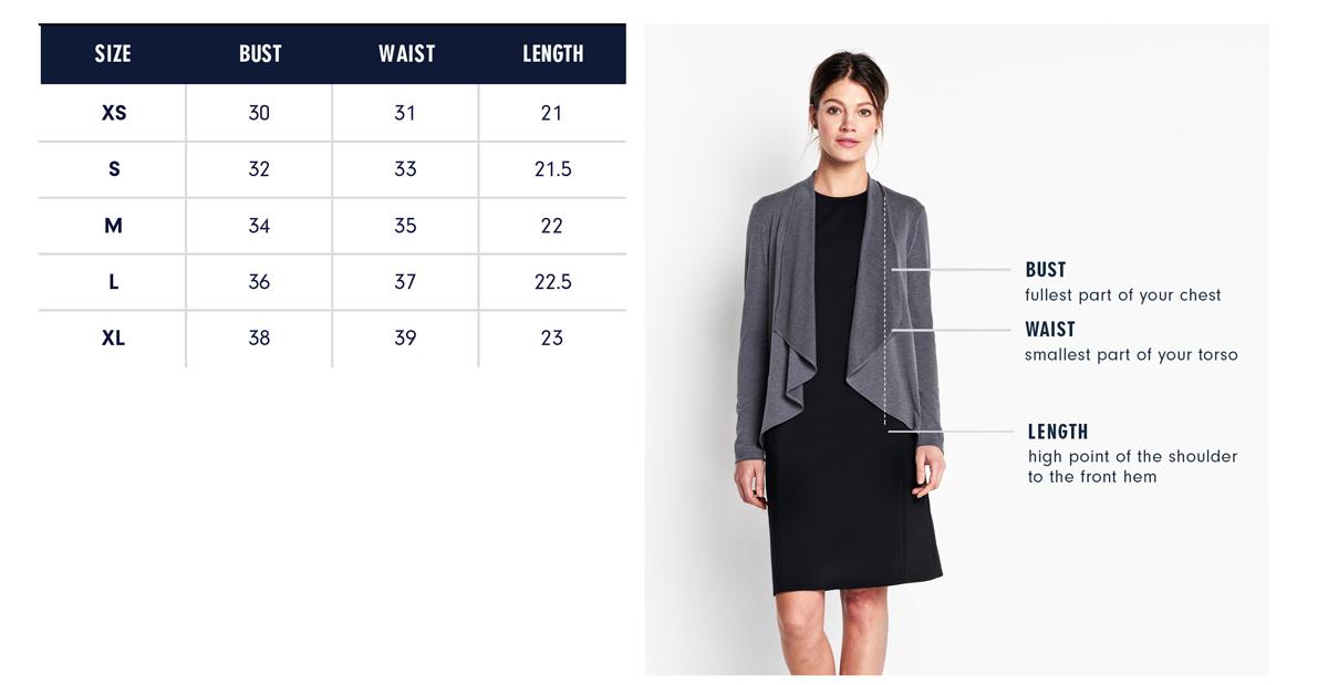 Columbia Cardigan Size Chart