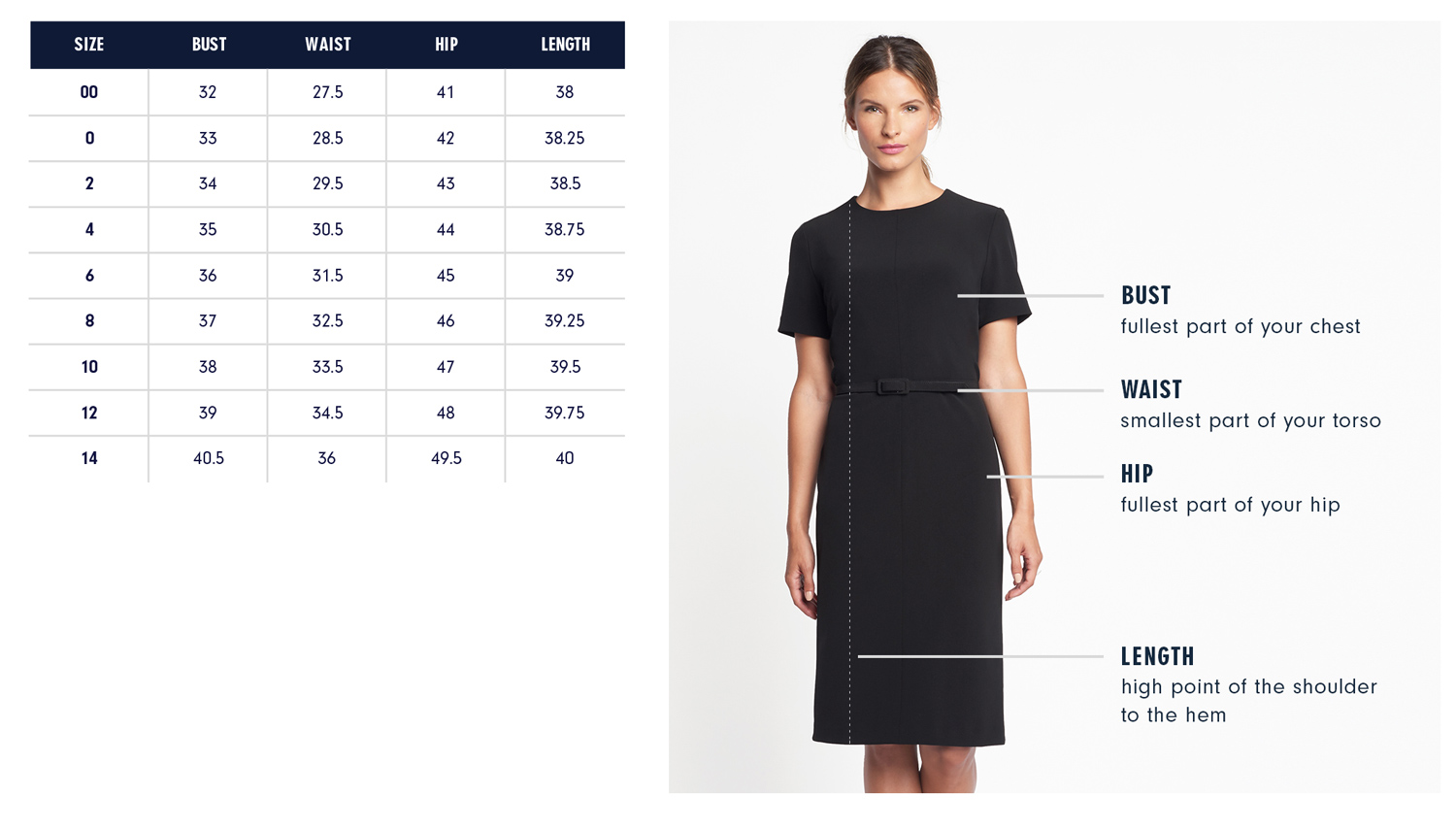Carmine Dress Size Guide