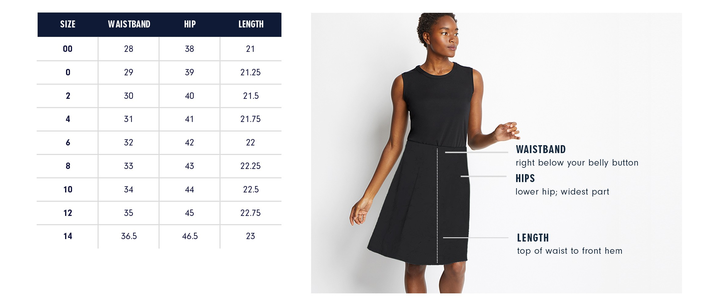 Of Mercer | Delancey Skirt Size Chart