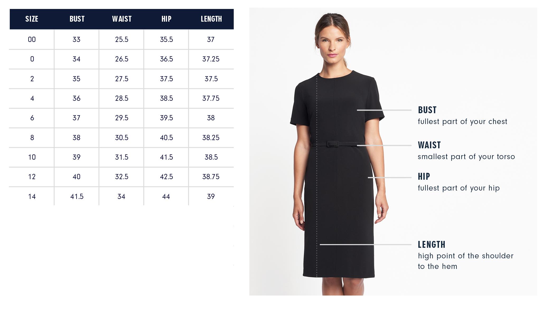 Fifth Avenue Dress Size Chart