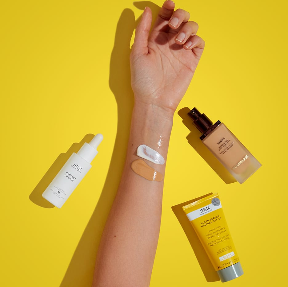 Arm with swatches of Perfect Canvas, Clean Screen, and a foundation