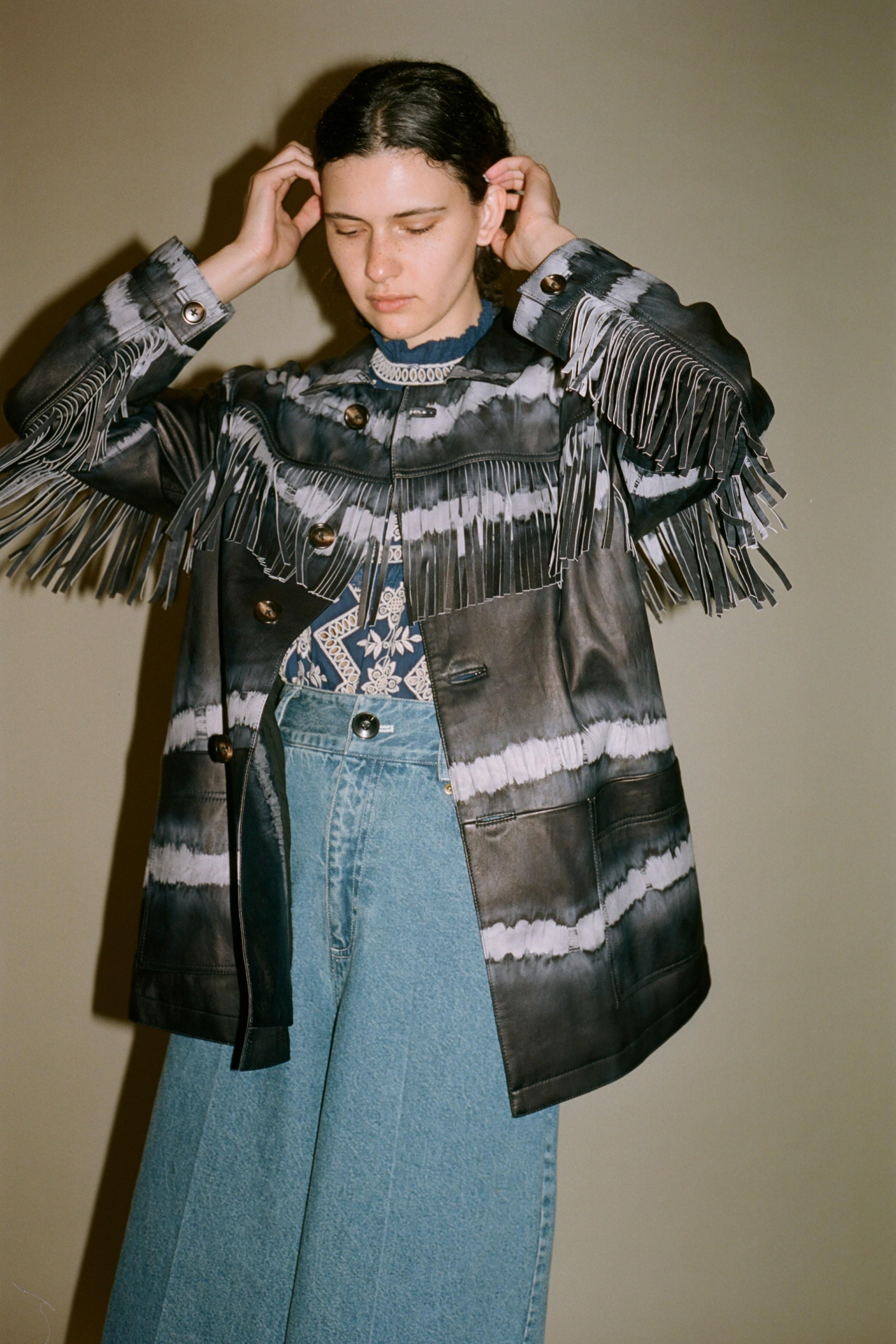 Tilda tie dye leather jacket, zippy eyelet long sleeve blouse, doreen denim culotte