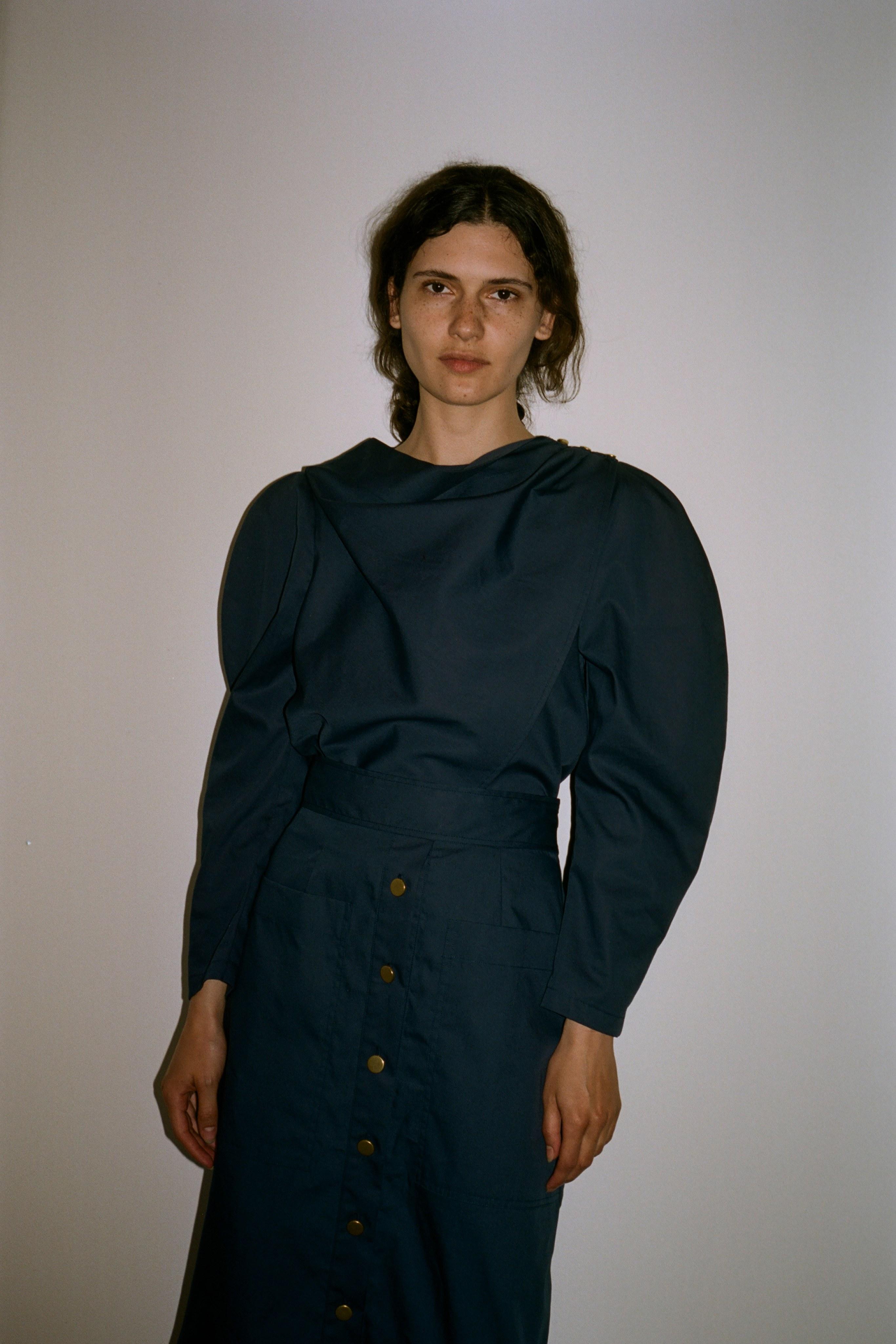 Marine cotton blouse, Marine cotton skirt, Marine cotton Jumpsuit