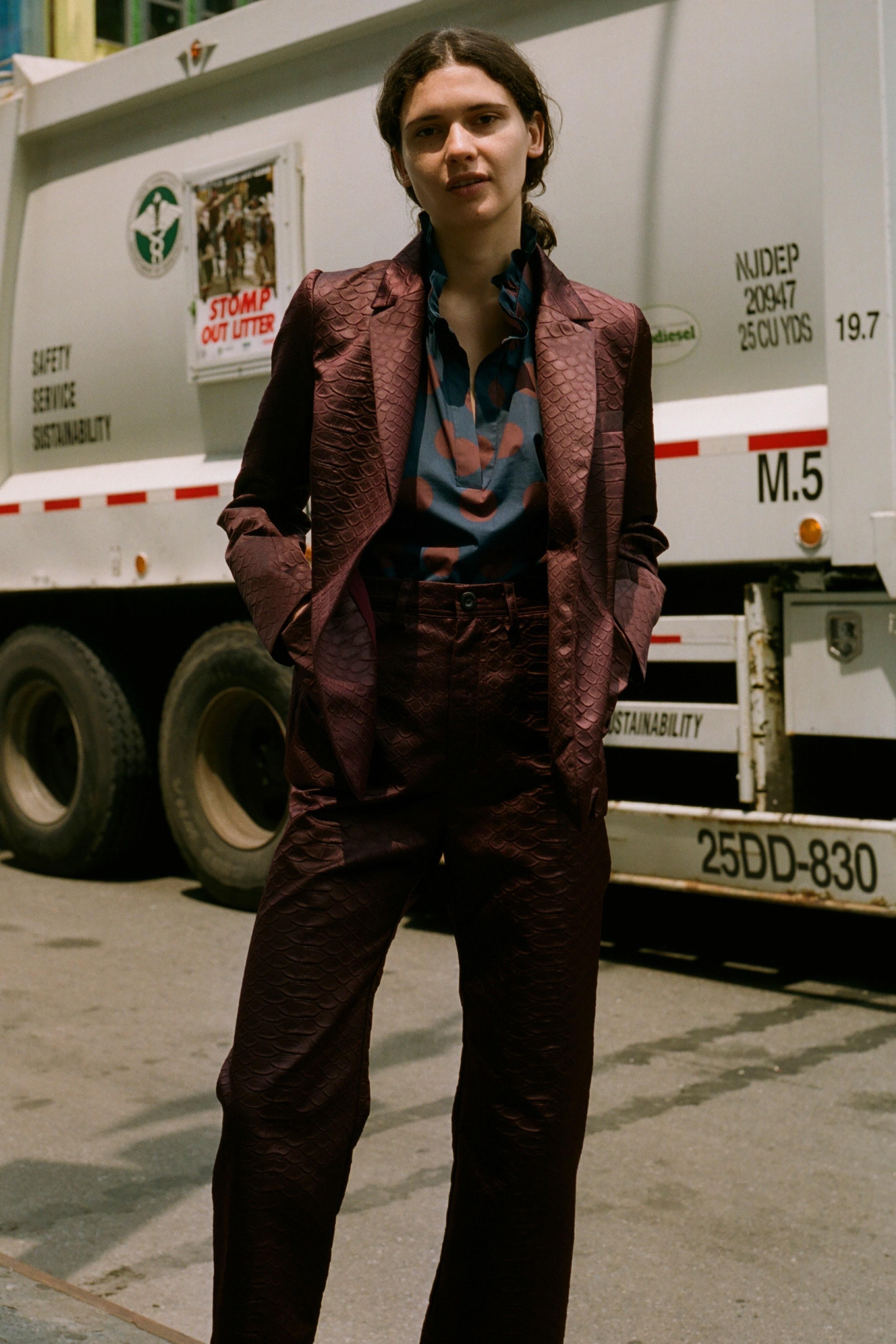 Penny polka dot long sleeve blouse, Simon snake jacket, Simon snake pant