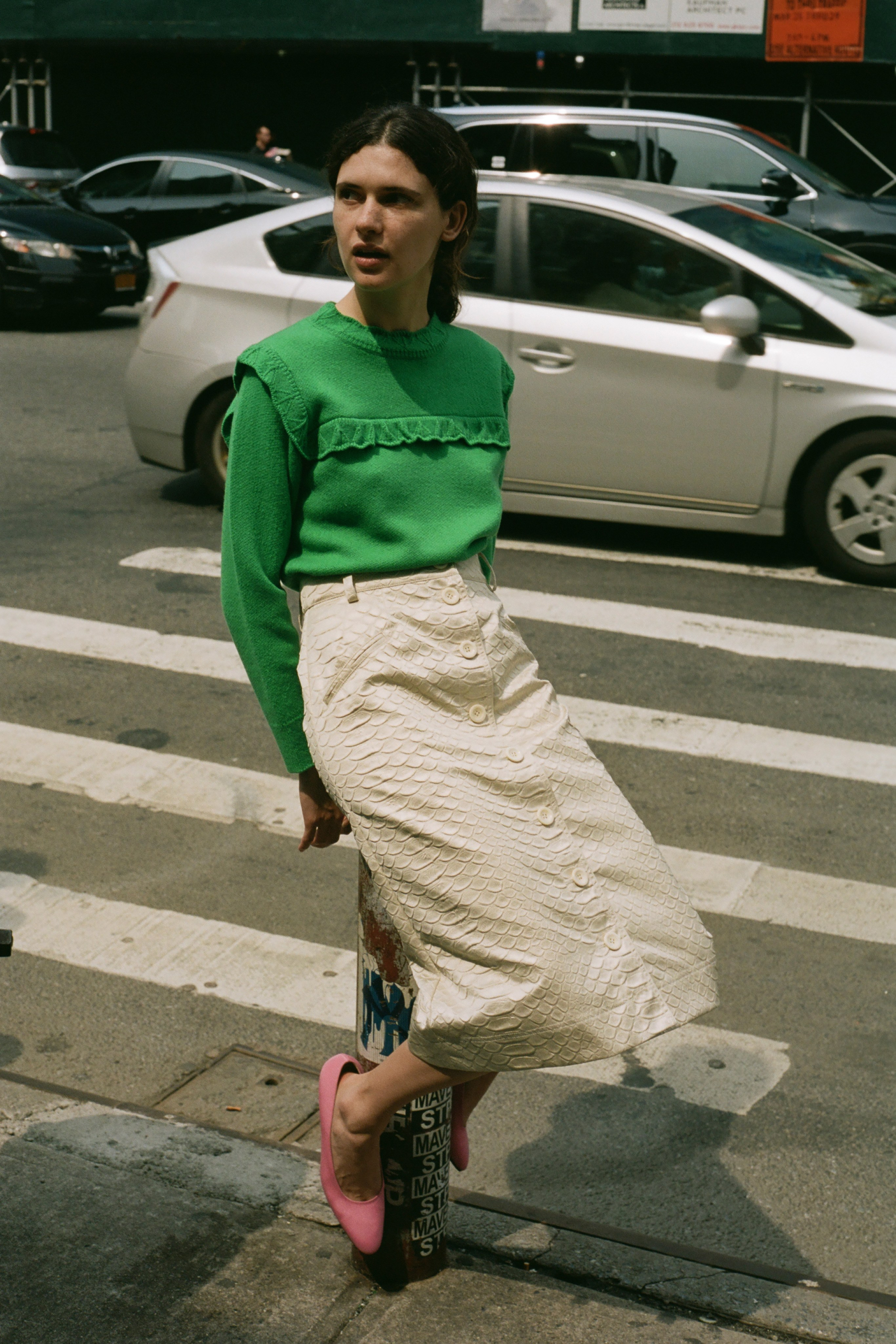 Simon snake skirt, Caroline wool ruffle pullover sweater