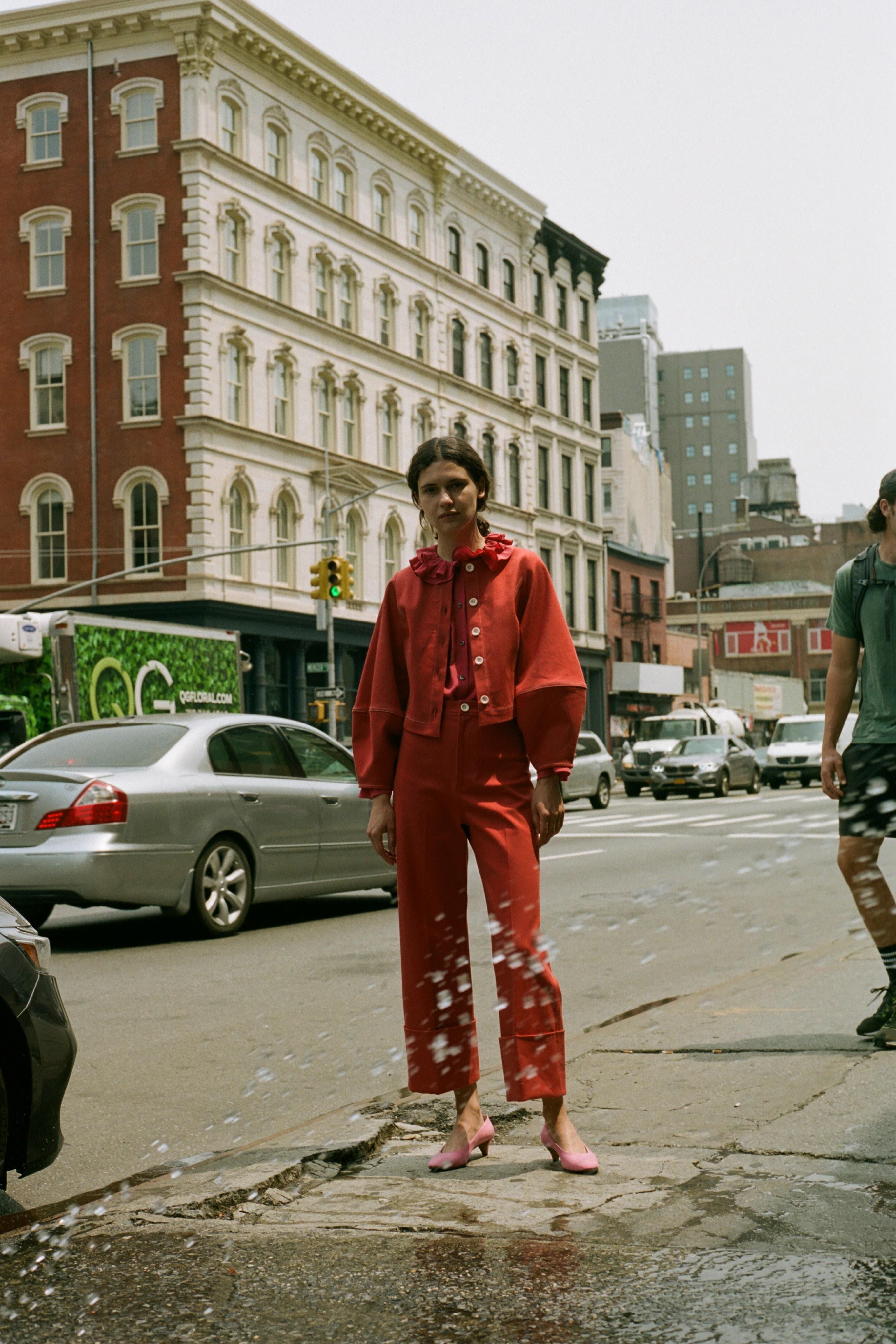 Corbin color denim jacket, Sinclair ruffle blouse, Corbin color denim cuff pant