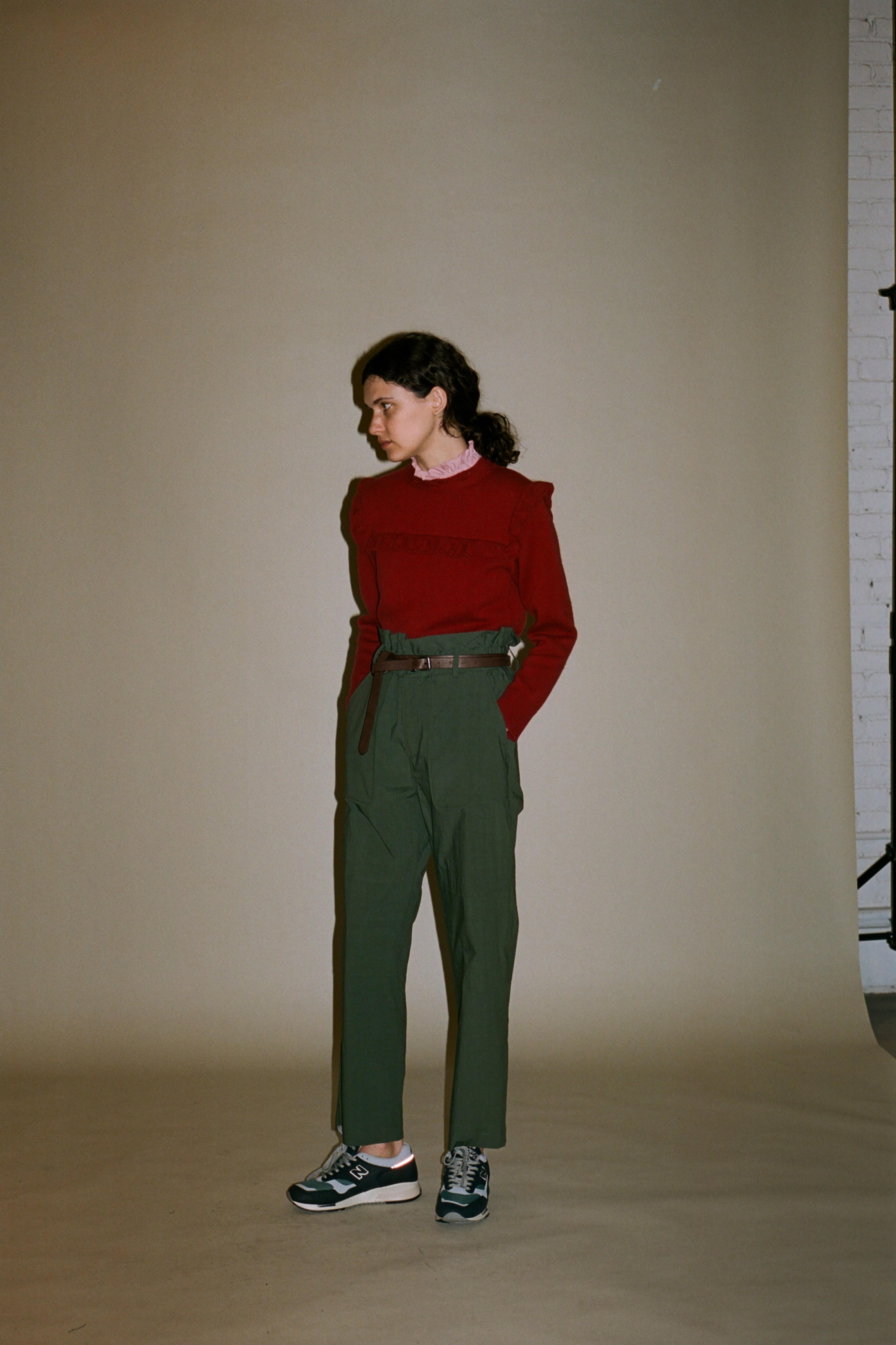 Caroline wool ruffle pullover sweater, Scout pant