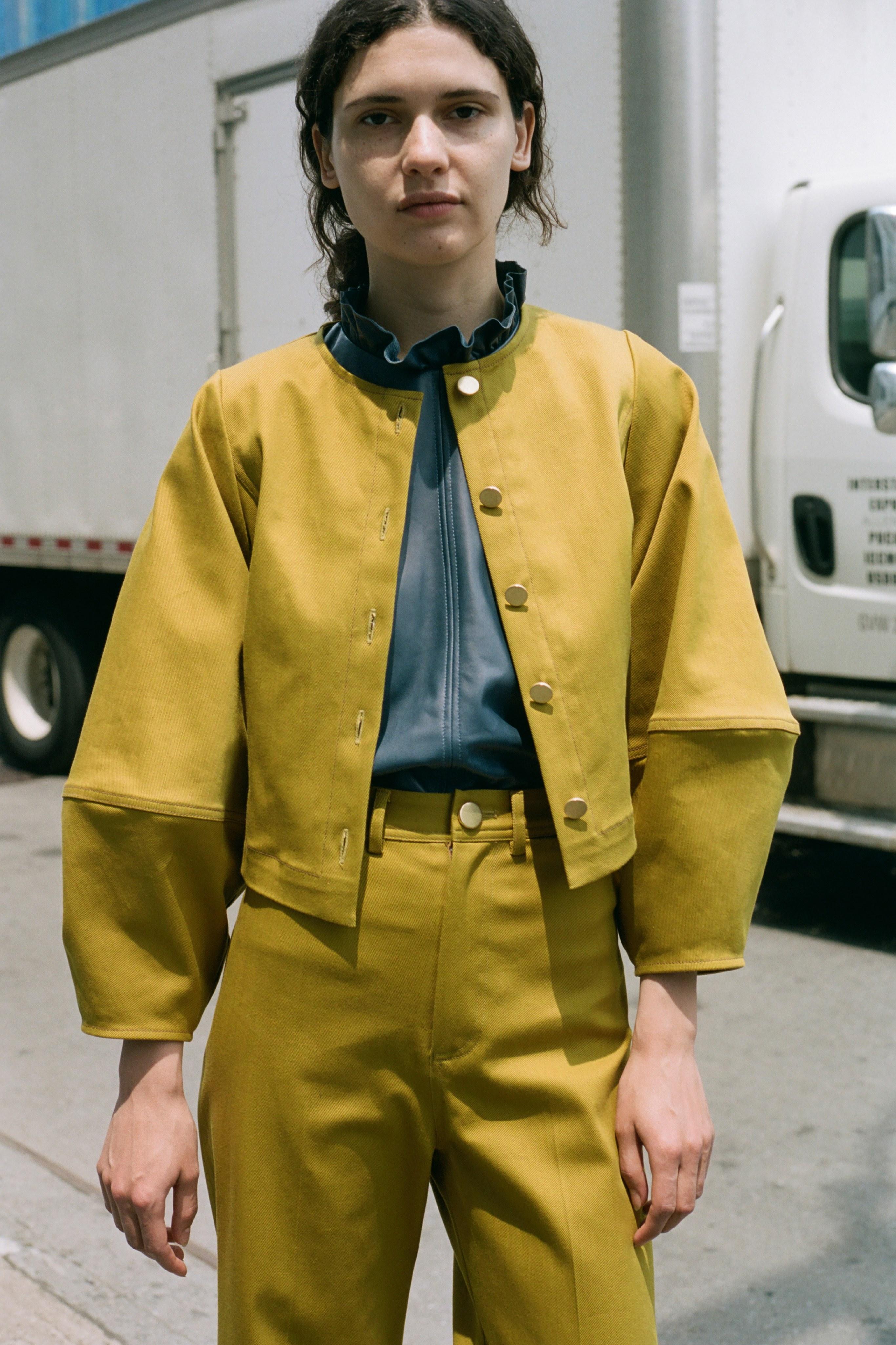 Corbin color denim jacket, Lydia leather blouse, Corbin color denim cuff pant
