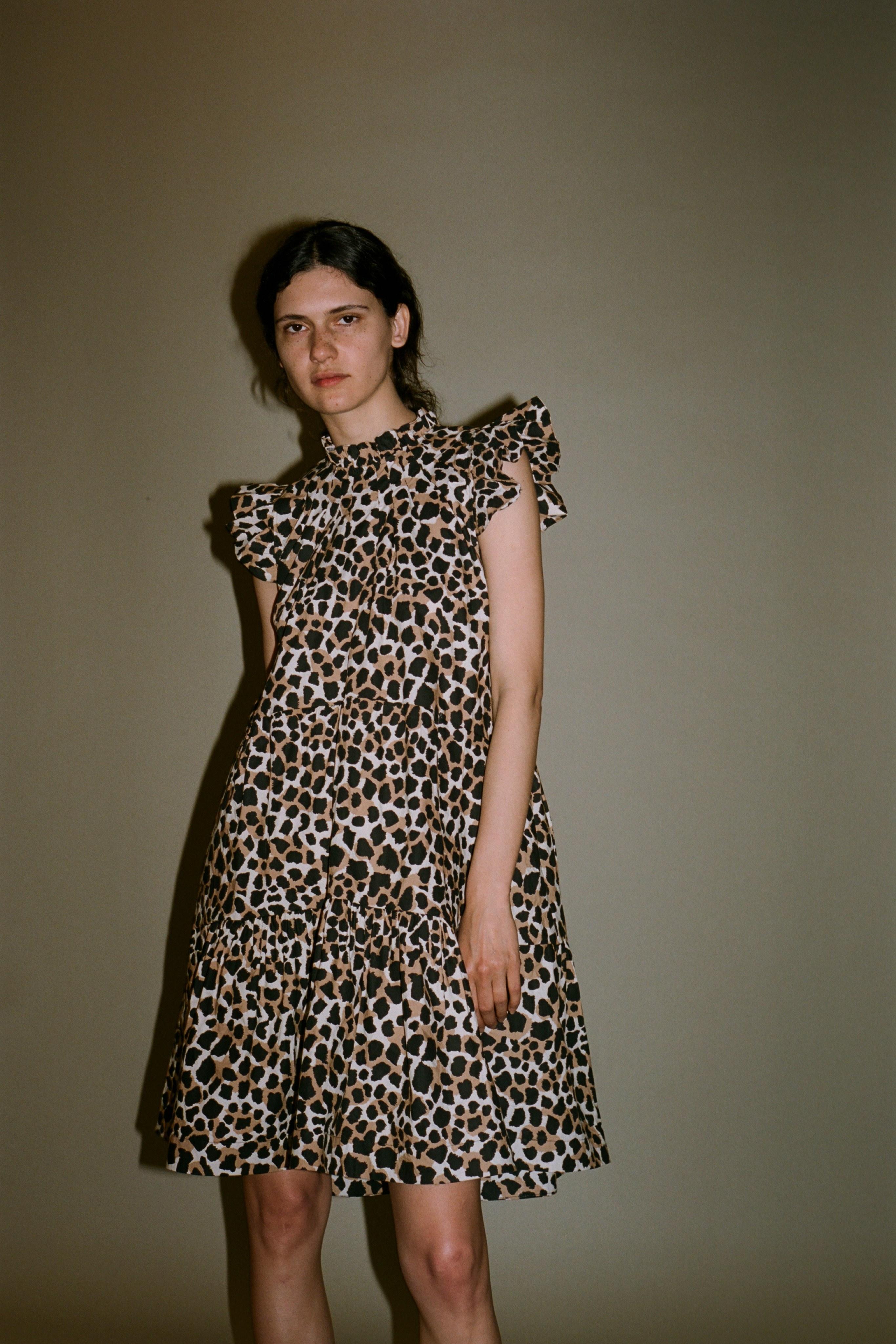 Apollo leopard print tiered dress