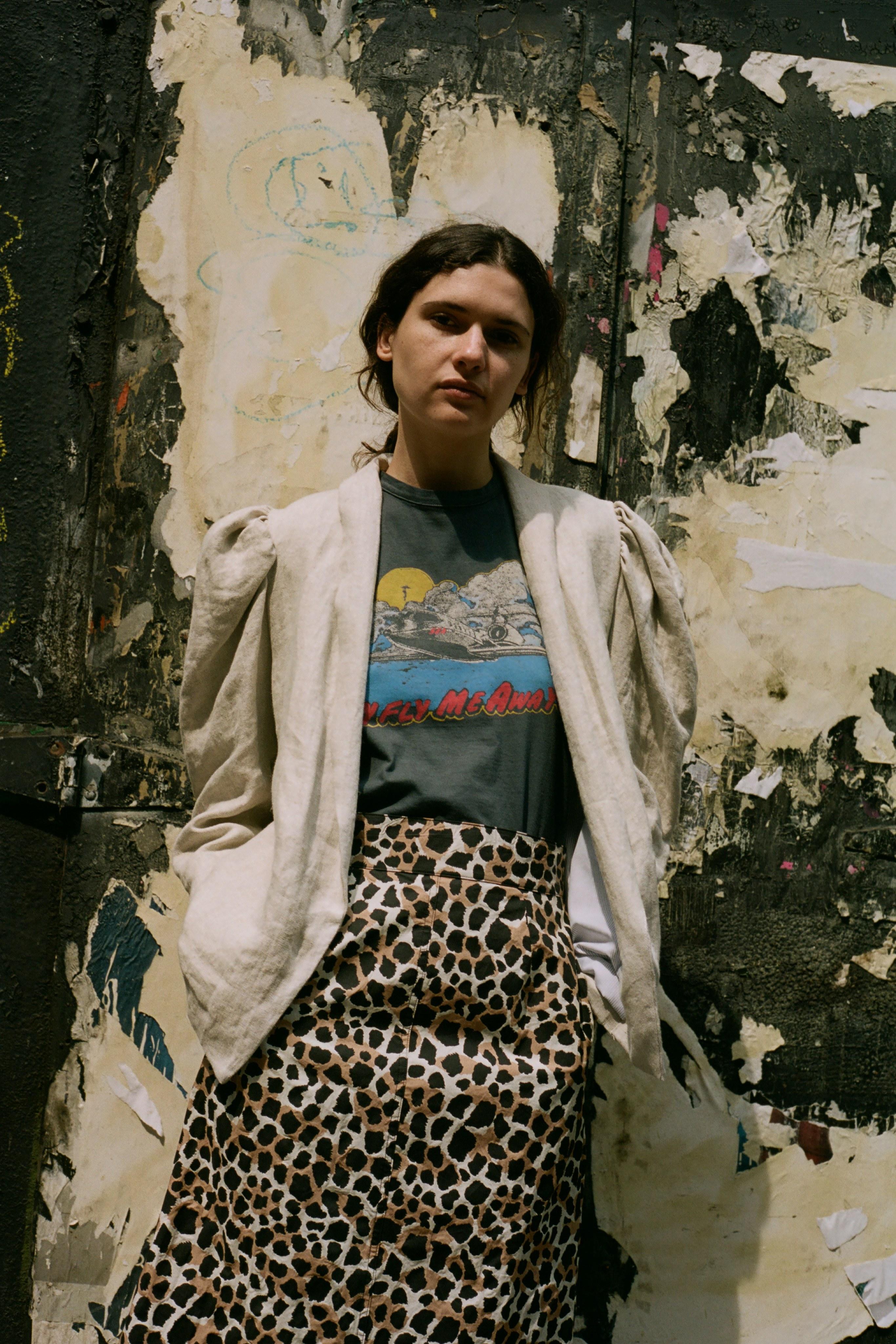 Baby Fly Me Away t-shirt, Apollo leopard print skirt, Leon linen blazer