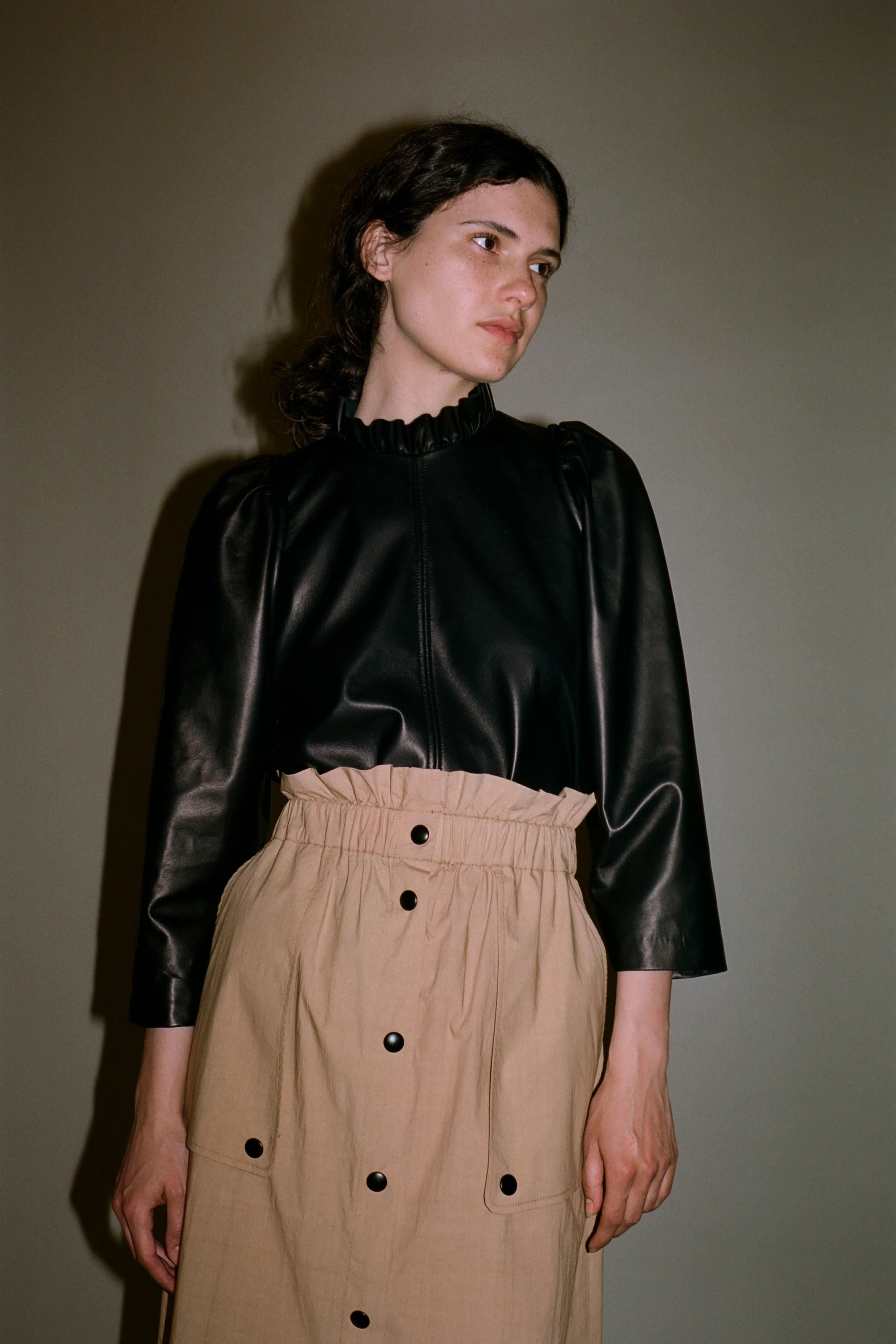 Lydia leather blouse, Scott skirt