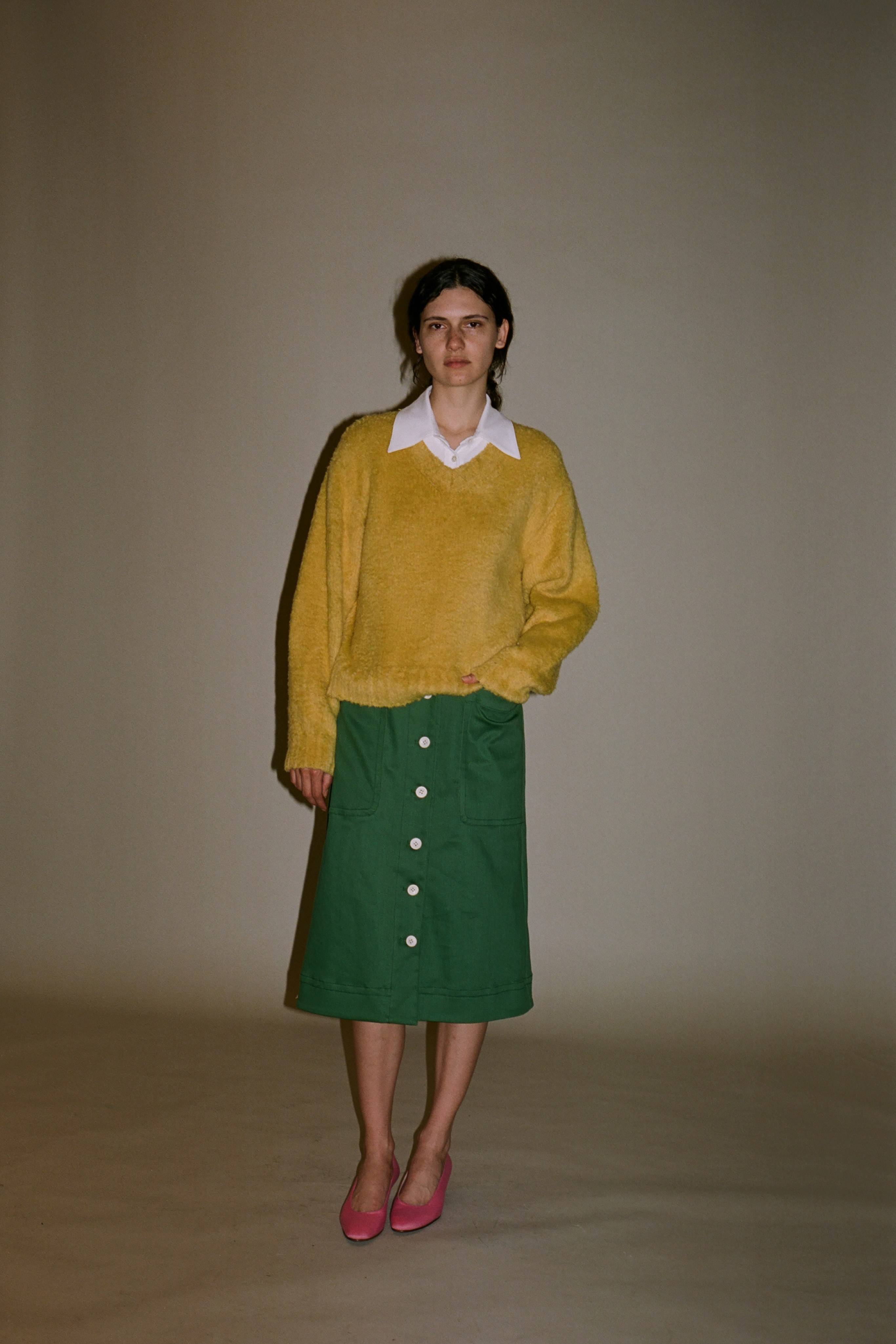 Corbin color denim skirt, Fae fleece v-neck sweater