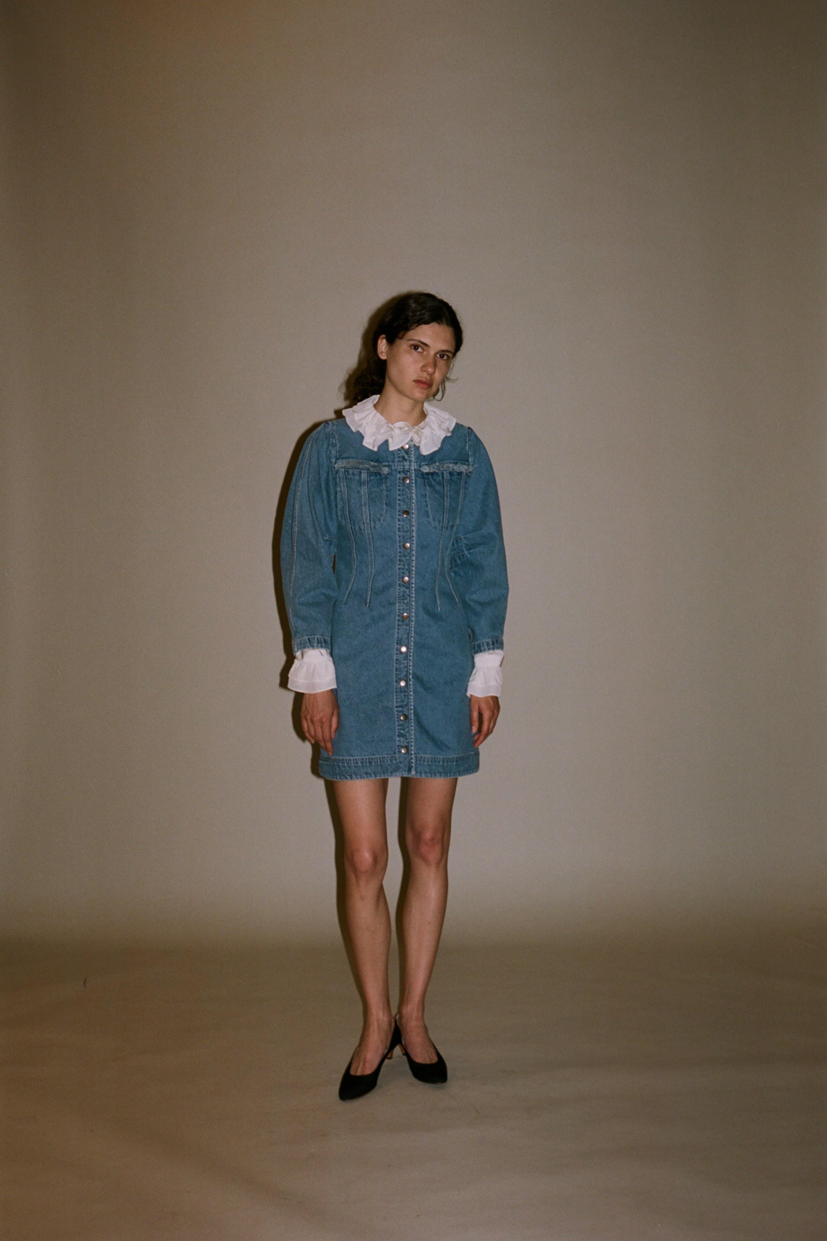 Doreen denim dress, sinclair silk blouse