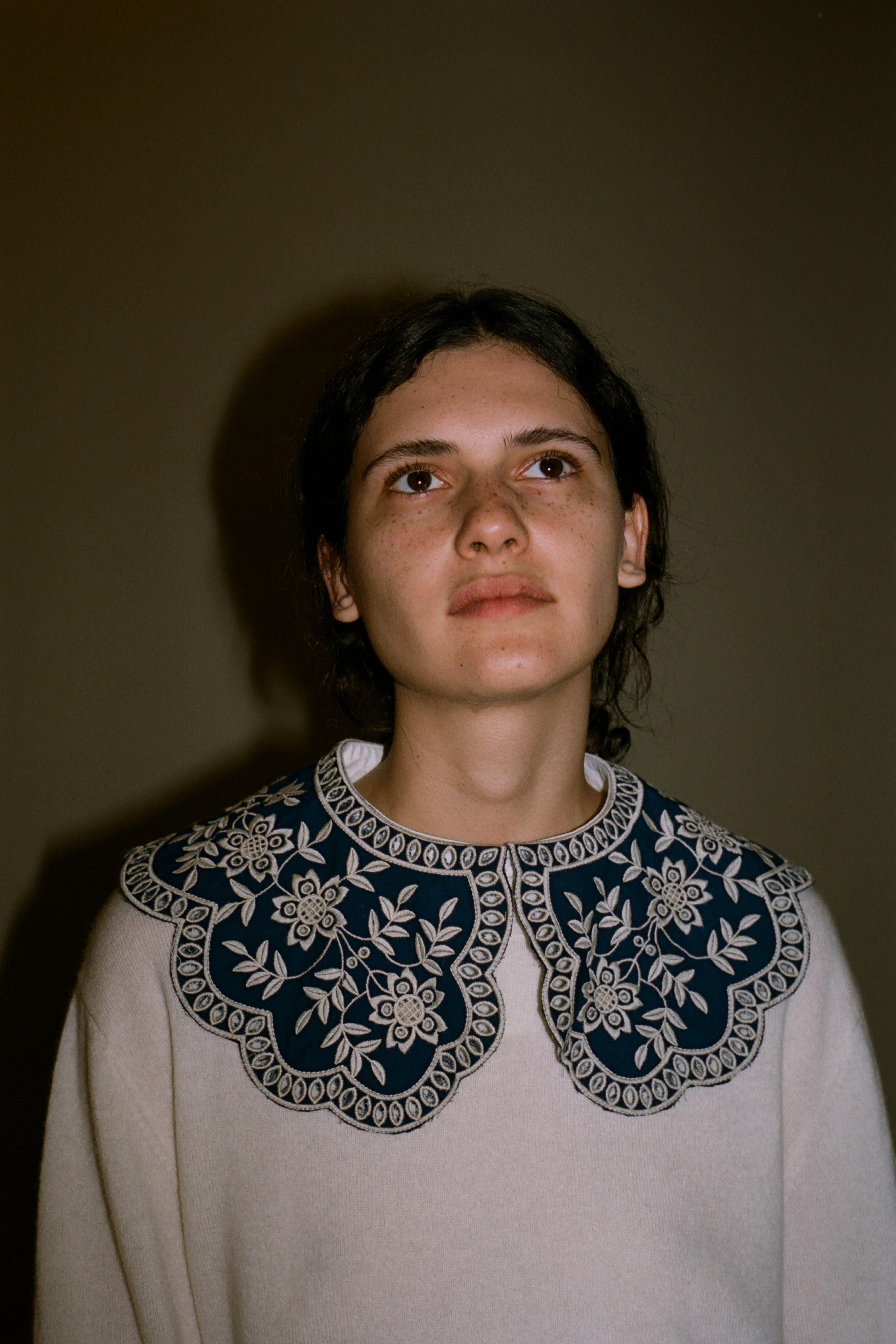 Zippy lace collar sweater