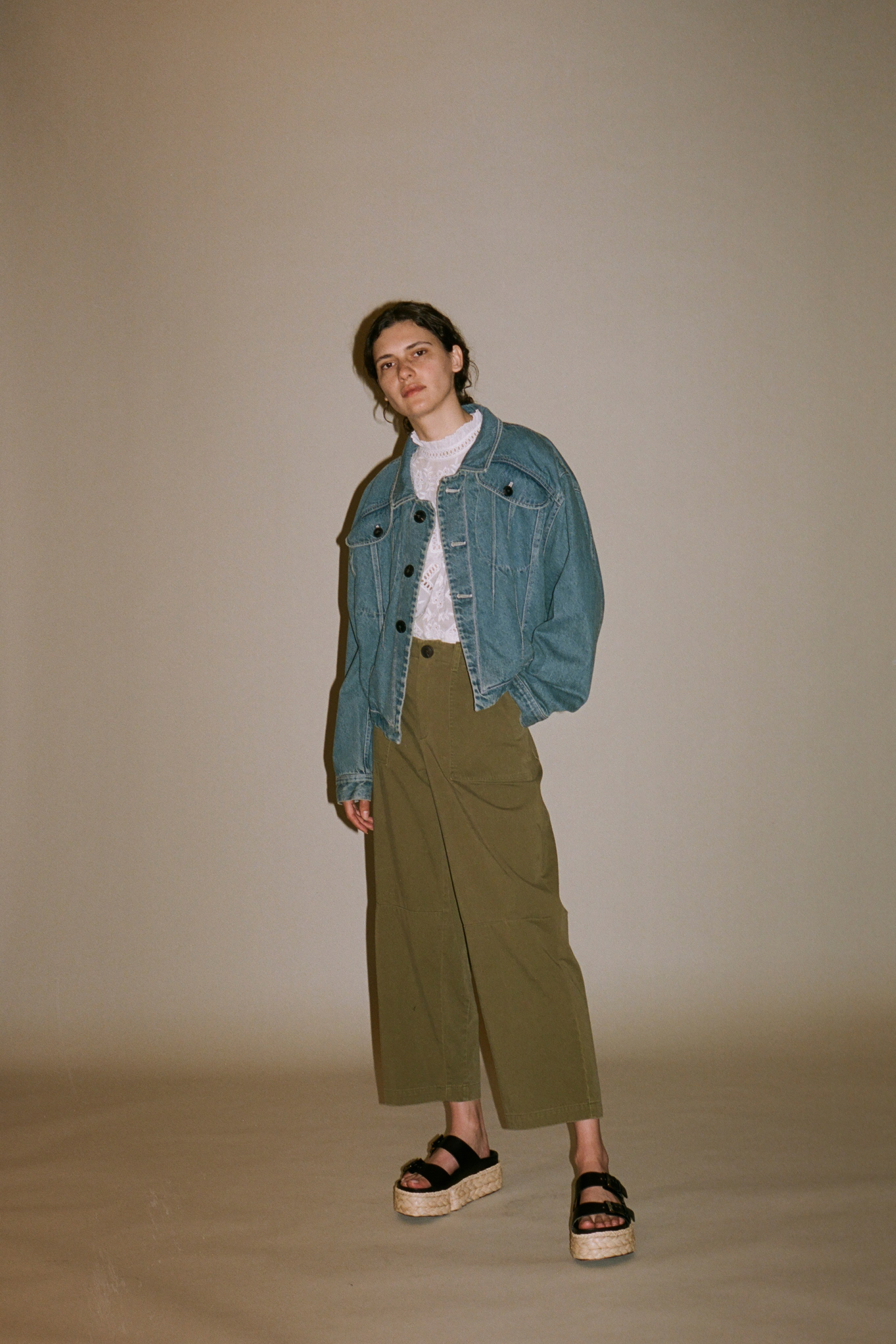 Doreen denim jacket, zippy eyelet long sleeve blouse, Adalene pant