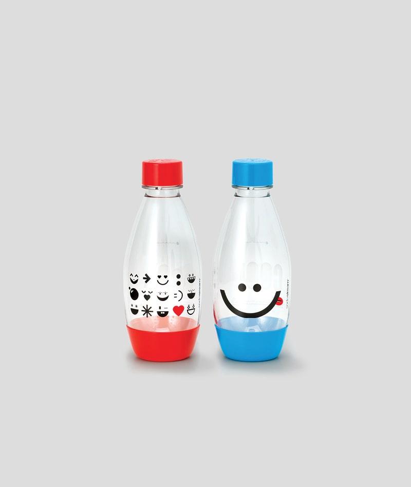 0.5 L Red & Blue Bottles