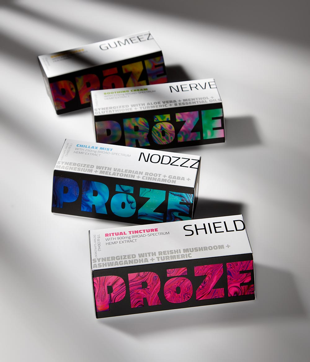 Suite of all PRoZE products, NODZZZ is behind SHIELD and then NERVE AND GUMEEZ are behind it - all boxes laying on their sides