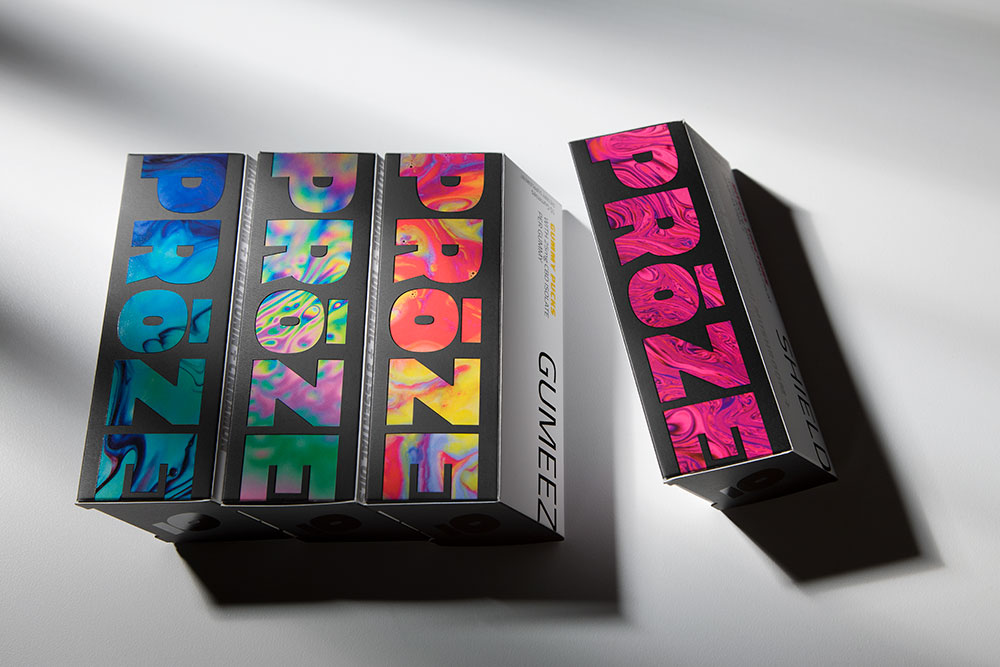 Boxes of PRoZE product lined up with SHIELD on the far right separated from the product suite