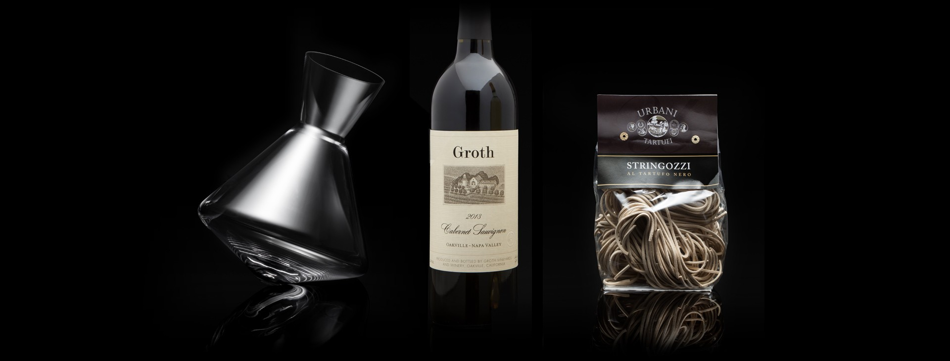 Groth Oakville Cabernet with Sempli Decanter, and Truffle Stringozzi Pasta